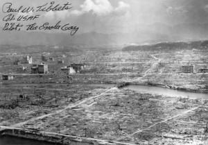 Het centrum van Hiroshima na de explosie van 'Little Boy'