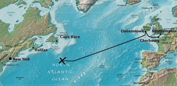Waar is de titanic gezonken